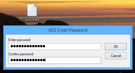 Richiesta password AEScrypt