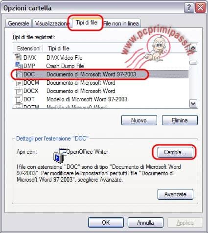 Modifica associazione tipo di files programma