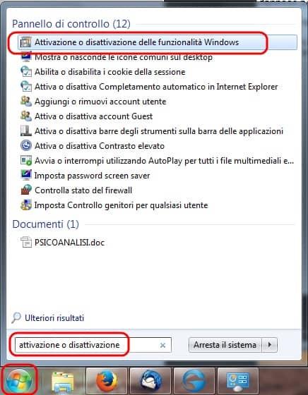 Attivazione disattivazione funzionalità windows