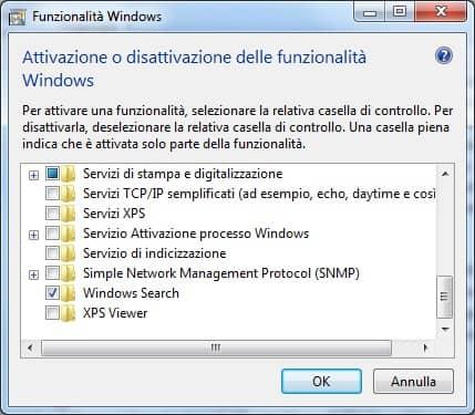 Attivazione disattivazione funzionalità windows 2