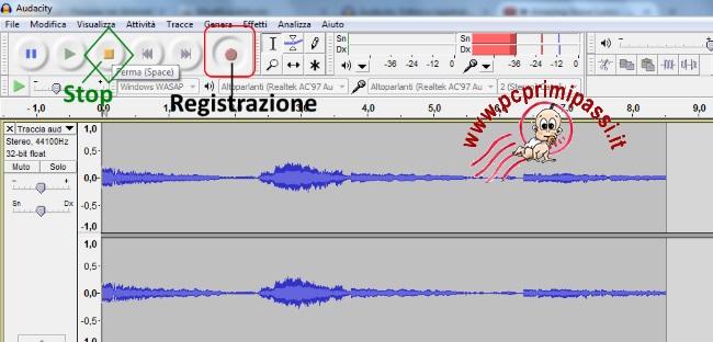 Spettro registrazione Audacity