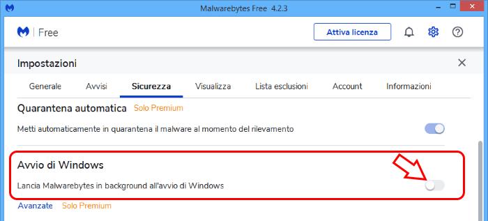 Avvio automatico software malwarebytes antimalware
