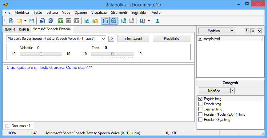 Balabolka in italiano con Microsoft Speech Platform