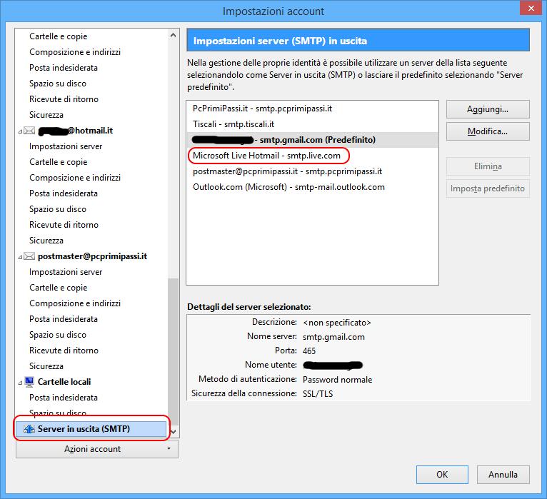 Thunderbird configurazione SMTP