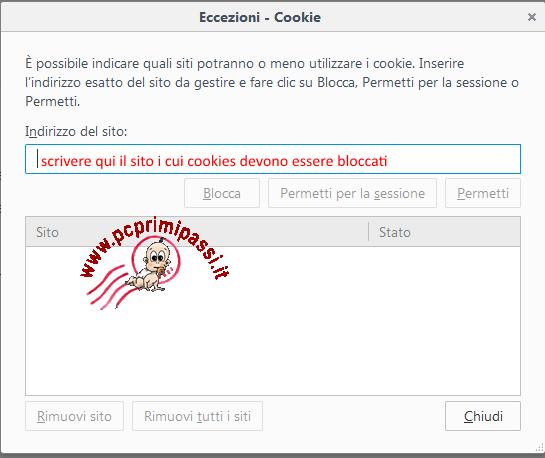 Eccezioni sui cookies di Firefox