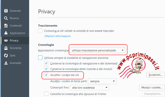 Cookies Firefox opzioni privacy