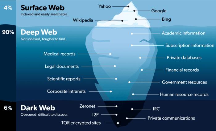 Deep web e Dark Web percentuali