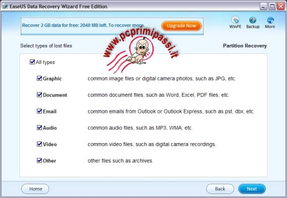 Azione EaseUS data recovery Wizard free