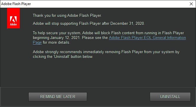 Fine supporto Flash Player
