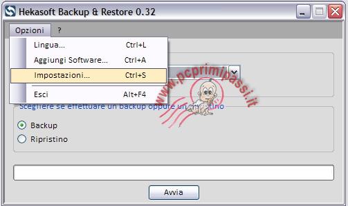 HekaSoft BackupRestore Opzioni