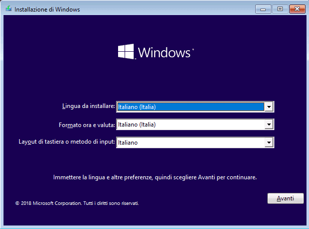 Installazione pulita windows 10