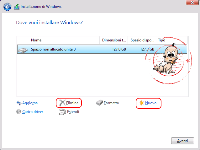 Installazione pulita windows 10 step 5