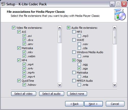 Formati audio video Klite codec pack