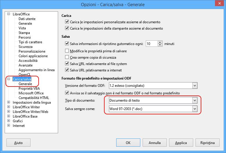 LibreOffice carica-salva