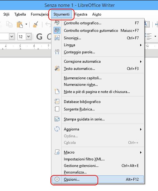 LibreOffice strumenti - opzioni