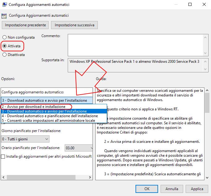 Criteri di gruppo disabiltazione Windows update Windows 10