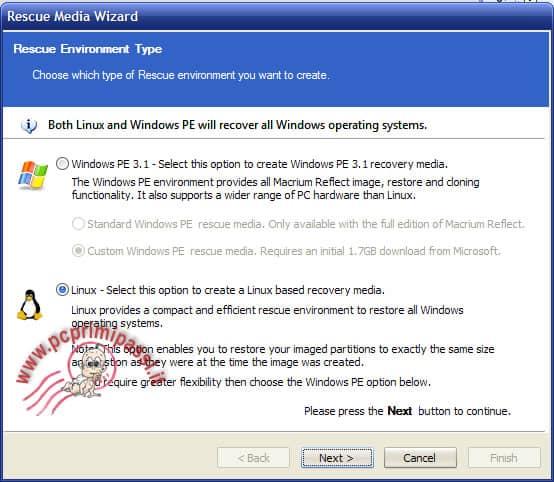 Media disk scelta sistema operativo