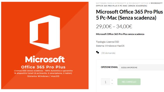 Microsoft Office 365 acquisto locandina