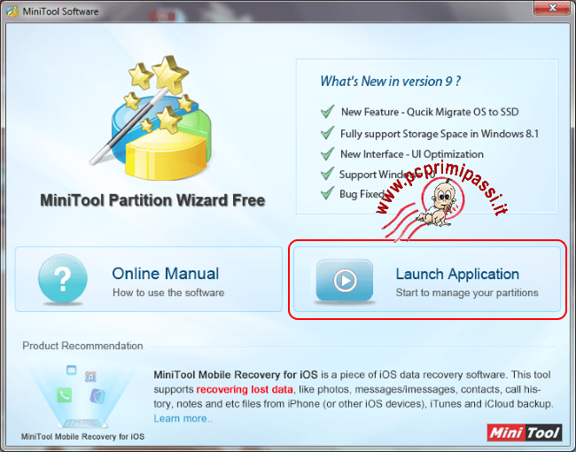 MiniTool Partition Wizard avvio