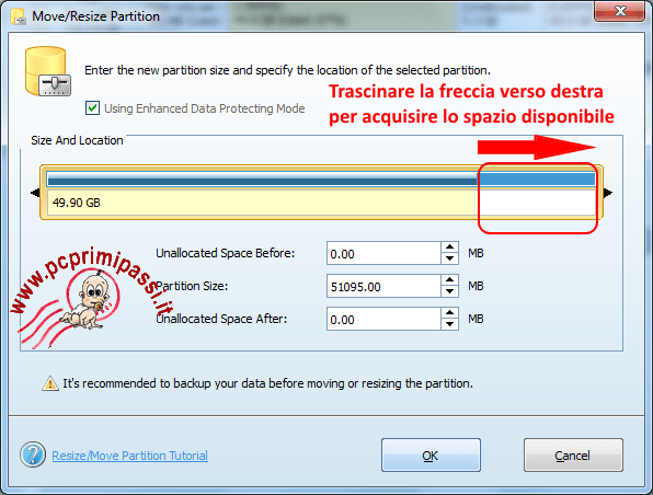 MiniTool Partition wizard incremento partizione