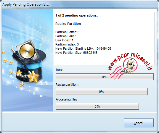MiniTool Partition wizard avanzamento operazioni