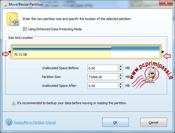 MiniTool Partition Wizard Move-Resize dettaglio