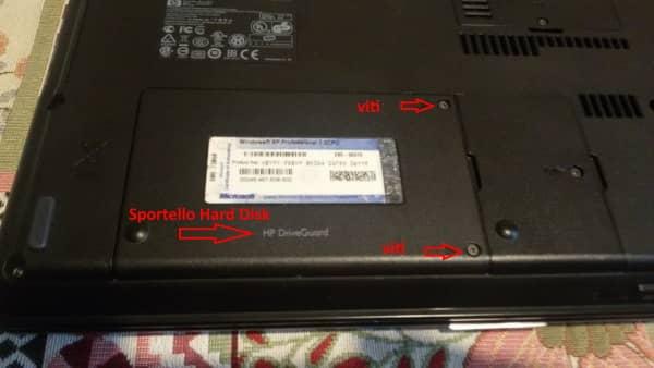 Montaggio SSD sportello disco rigido