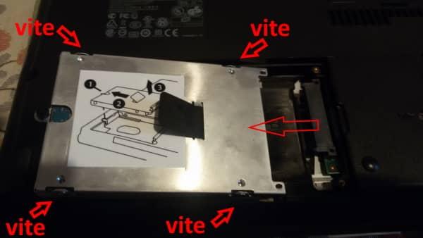 Montaggio SSD sgancio del disco