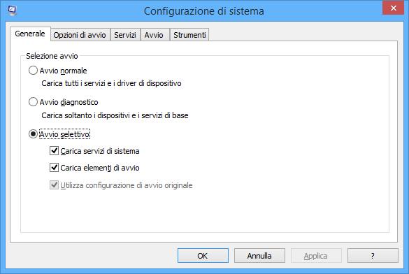 msconfig configuratore di sistema principale