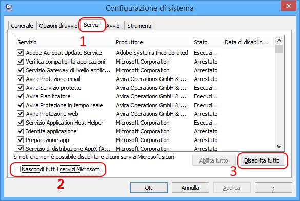 msconfig configurazione servizi