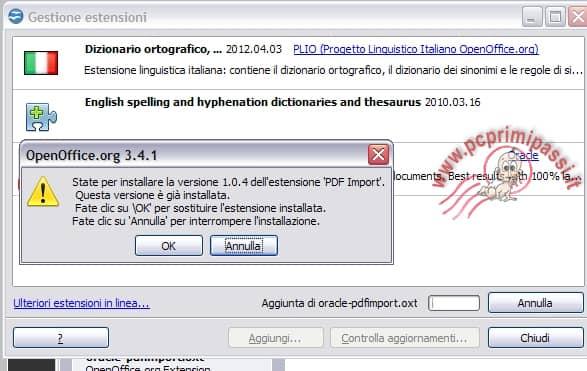 Installazione PDF Import OpenOffice