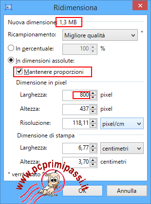 Cambio valori ridimensionamento immagine Paint .Net