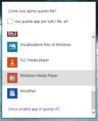 Programma predefinito altre opzioni windows 8.1
