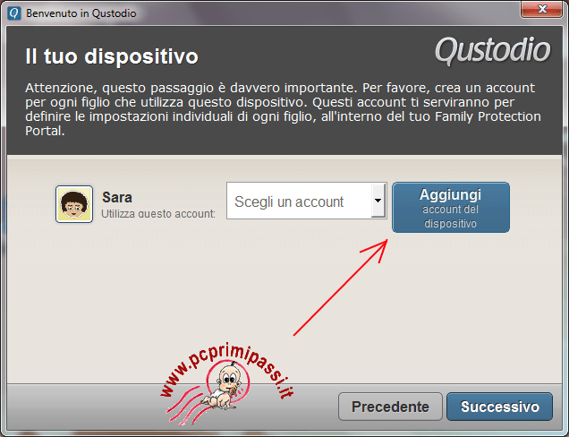 Nuovo account dispositivo Qustodio