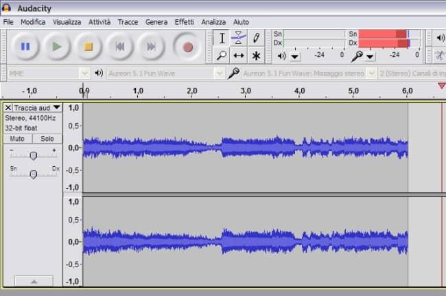 Registrazione onde audacity