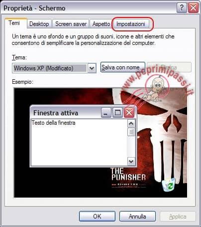 schermata proprietà del desktop