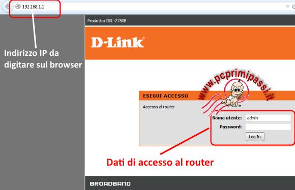Accesso al router