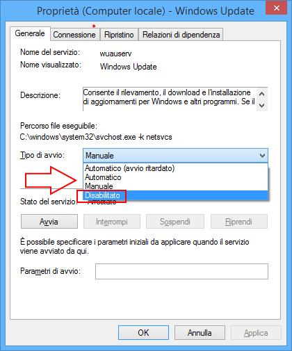 Windows update disabilitazione servizio