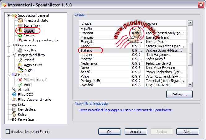 Spamihilator selezione lingua