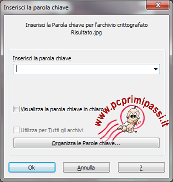 Steganografia richiesta password