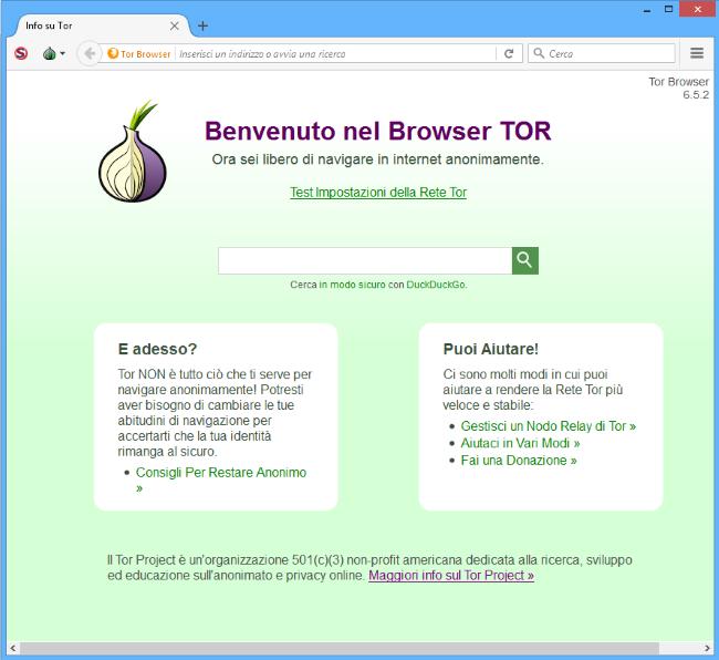 TOR browser benvenuto