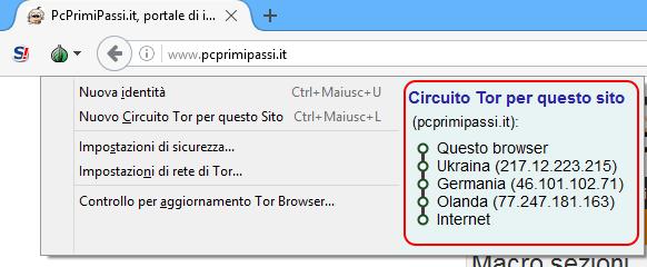 TOR Browser rimbalzi nodi della rete