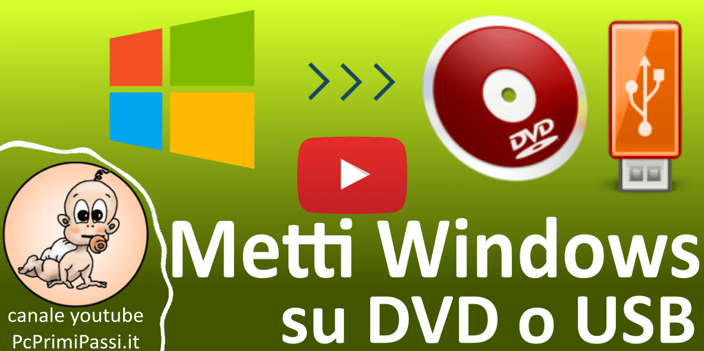 Creare un supporto USB o DVD di Windows