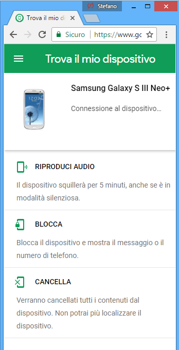 Trova e blocca android