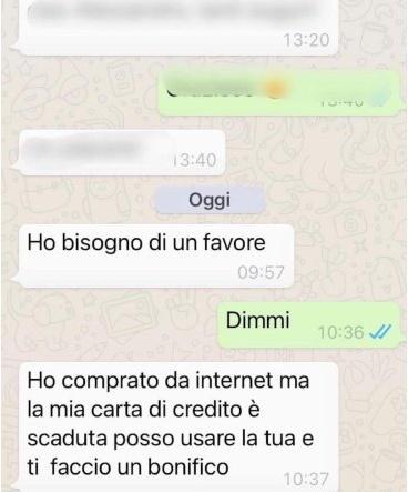 Truffa whatsapp ottobre 2021