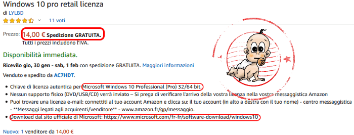 Licenza originale windows acquisto online