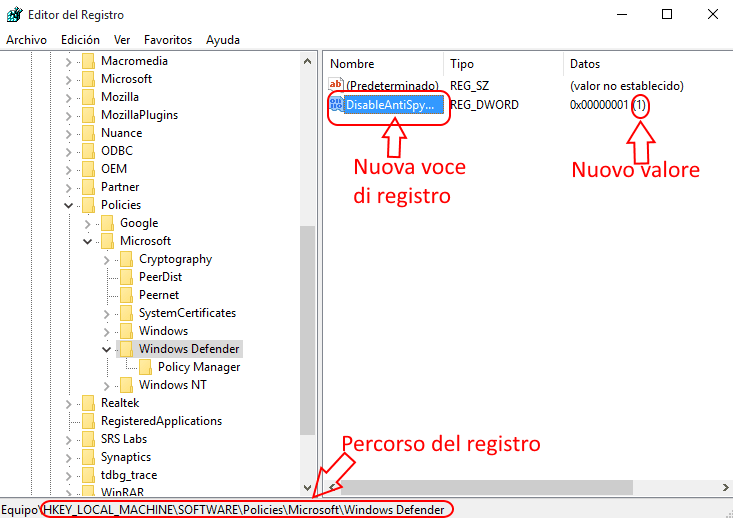 DisabeAntiSpyware value regedit