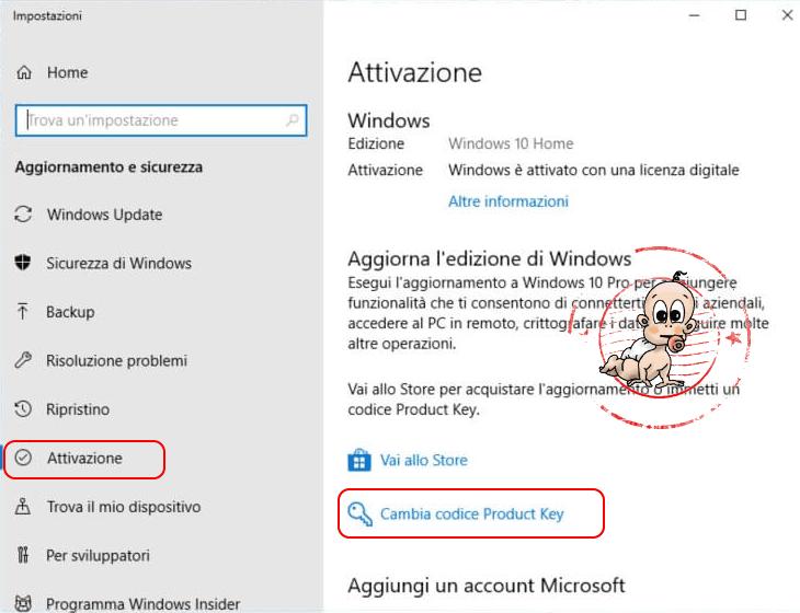 Attivazione licenza Windows 10