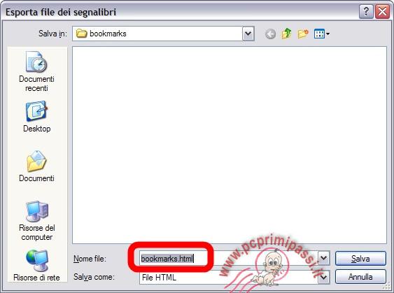 Esporta segnalibri firefox in HTML