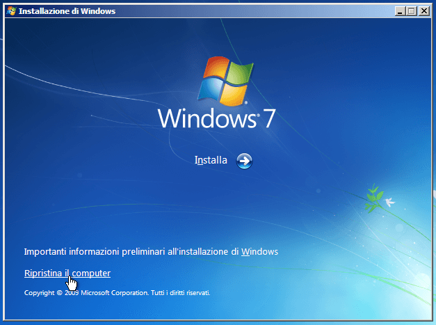 Windows 7 ripristino